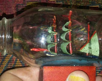 Vintage Little Ship in a Bottle Model