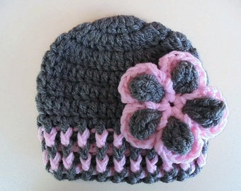 Gray baby girl hat, newborn girl hat, crochet baby beanie,  infant girl hat, take home outfit, baby girl hat, newborn girl beanie