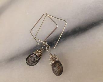 Moss Amethyst Teardrops and  Sterling Silver Square Hoops      Amethyst  Earrings Boho Jewelry  Gemstone quality  Rutilated Amethyst