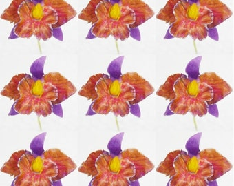 Handmade Polymer Clay Flowers Cattleya Orchid, 9 pieces