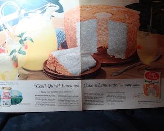 1954 Large Full Page Betty Crocker Angel Food Cake Mix Ad.