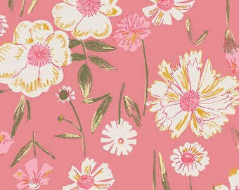 KNIT Fabric: Art Gallery Perennial Printemps Cotton Lycra Knit Fabric. Sold by the 1/2 Yard