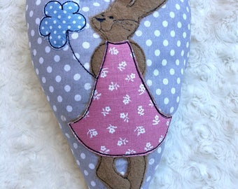 Padded cloth heart with bunny embroidery