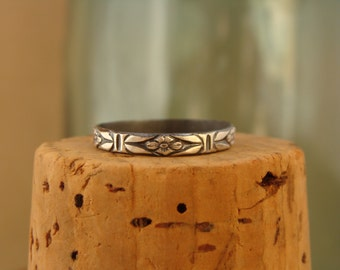 Oxidized Sterling Silver Stack Ring--Deco Floral--Handcrafted--Sweet & Simple