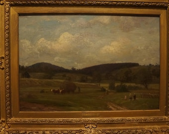 "Sold! 1800s Listed Impressionist Painting FRENCH Oil Canvas by K Peter Burnitz lrg Extensive Auction Records Sotheby's,Christie's,33"" by 26"""