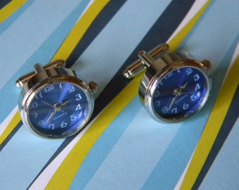 Cool Sapphire Blue and Silver Tone Working Watch Cuff Links