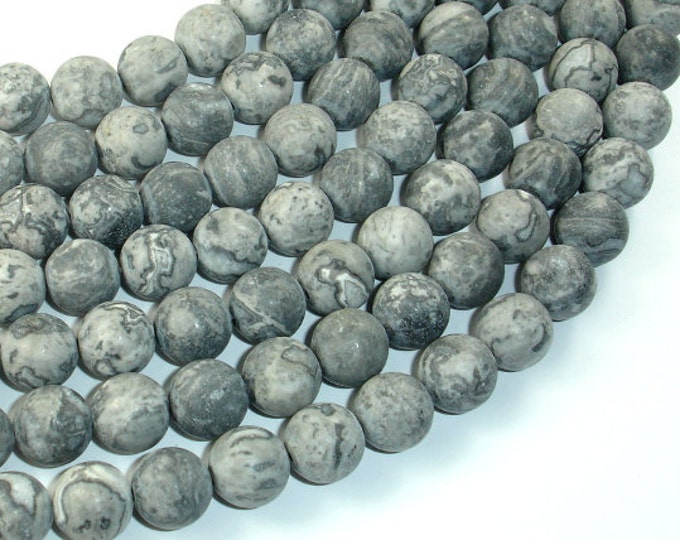 Matte Gray Picture Jasper Beads, 10mm (10.5 mm) Round Beads, 15.5 Inch, Full strand, Approx 38 beads, Hole 1mm, A quality (141054007)