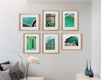 Mint Green 6 Mix Print Collection.  Architectural photography, xmas lights, urban, decor, wall art, artwork, large format photo.