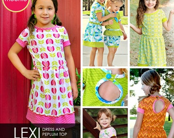 Lexi Knit Dress and Peplum Top PDF Downloadable Pattern by MODKID... sizes 2T to 12 Girls included - Instant Download