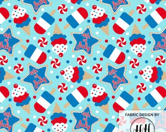 4th of July Ice Cream Fabric By The Yard / USA Fabric / Patriotic Fabric / Red White Blue Whimsical Kids Fabric Print in Yards & Fat Quarter