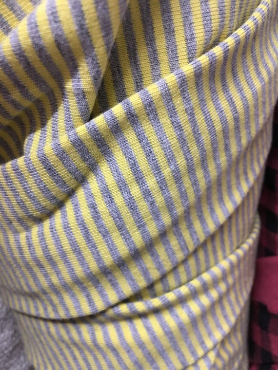 "Yellow/Heather Gray 1/4"" Jersey Lycra Stripe Knit (by the yard)"
