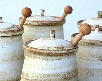 Ceramic Honey Jar, Ceramic Salt Cellar, Sugar Jar, Rustic Pottery, White Honey Jar, Ceramic Jam Jar, Pottery Honey Pot, Ceramic Jar With Lid