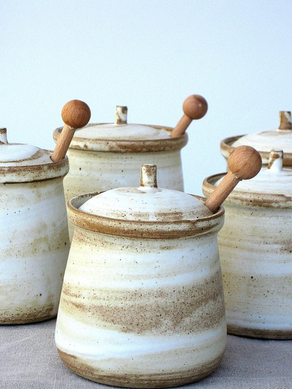 ?zoom & Ceramic Honey Jar Ceramic Salt Cellar Sugar Jar Rustic