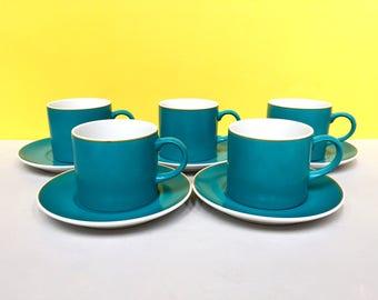 Schmid Kreglinger 'Kelco' Lagardo Tackett-designed cup/saucers, set of five