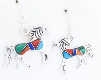 Sterling Silver Multi Gem Horse Earrings Signed and Free Shipping