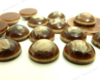 20 Chocolate and Vanilla Swirl Flatback Resin Cabochons - 10mm Flat Round Cabs - BK32