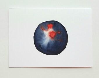 Full Moon Card Watercolor Card Blue Card Red Card Blank Card Circle Card