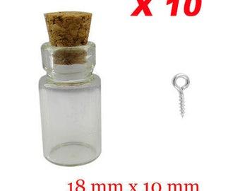 Set of 10 vials glass 18 x 10 mm + peaks