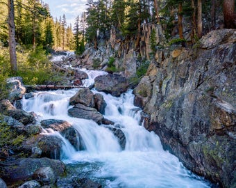Photographic Print: Waterfall at the Pacific Crest Trail, Sierra National Forest, California