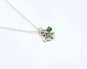 Ginkgo Leaf Necklace- Custom Birthstone Color- 925 Sterling Silver or silver tone Chain- Nature - Unique Lovely Gifts