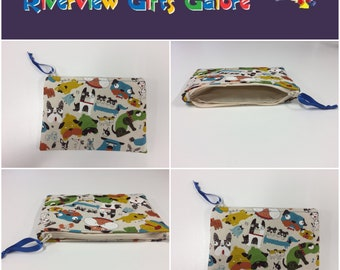 Zip Clutch / Purse / Bag / Pouch - Dogs Cream