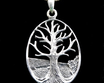 Handcrafted in Thailand Solid 925 Sterling Silver Etched Celtic Tree of Life Yggdrasil Pendant