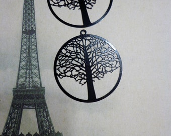 Laser Lace Filigree Finding Tree of Life (45mm) Black Plated Brass (2)