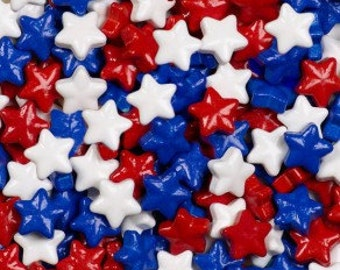 """Red White Blue Candy Stars """"Cake/Cupcake/Cookie Decorations"""""""