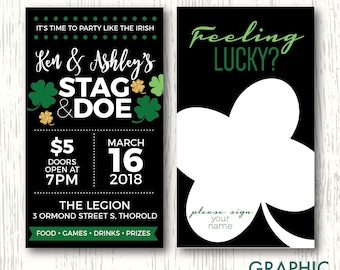 St. Patrick's Day Stag & Doe Ticket, Personalized Digital File