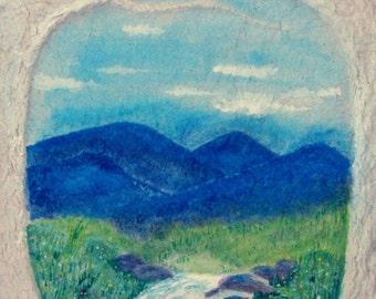 Spring meadow,Blue Ridge Mountains,Mountain Stream,Fantasy Landscape,Flame Bilyue,Springtime,Spring wildflowers