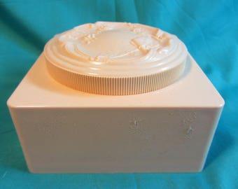Mid Century Soft Peach Plastic Womens Powder Box With Duster, Square Plastic Powder Box w/ Powder Puff, Powder Box Trinket Box, Vanity Box