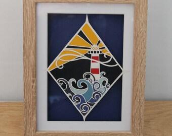 Lighthouse Paper Artwork - Papercut - Sea Scene - Framed Original