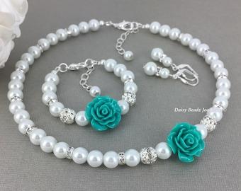 Flower Girl Gift Flower Girl Jewelry Set Flower Girls Necklace Teal Wedding Flower Girl Bracelet Jewelry Gift Idea Wedding Jewelry