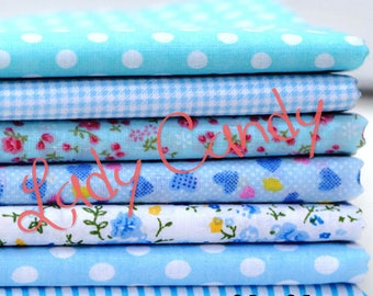 7 coupons fabric Betsy 25 x 25 cm Patchwork flower shades of blue flowers sewing #7136