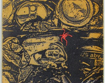 Photo etching mono print. Bug in cans, Hand pulled print, limited edition