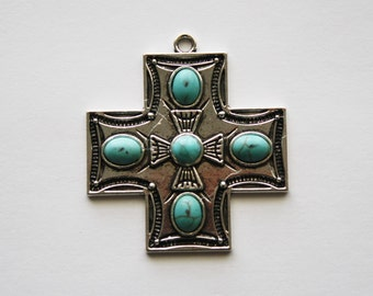 Cross Pendant with Turquoise Color Cross Center - 44x44mm - 2ct - #276