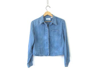 Cropped Thin Tencel Cotton Shirt Light Blue Blouse Button Up Crop Basic Hipster Shirt Oxford Color Shirt Vintage Womens size Medium Large