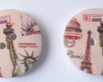 Set of monuments of Paris themed wooden buttons