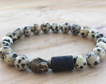 Dalmatian Jasper Bracelet, Lava stone Bracelet, Buddha Bracelet, Yoga Bracelet, Men's Bracelet, Mala Bracelet, Spiritual Bracelet, Bohemian