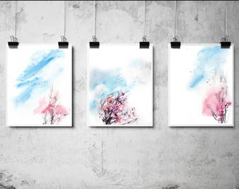 Pink Tree Art Prints Set, pink trees and blue sky watercolor painting prints, set of 3 fine art prints, spring minimalist nature prints set