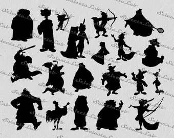 Digital SVG PNG robin hood inspired, sir Hiss, maid marian, Lady Kluck, Little John, Skippy, clipart, vector, silhouette, instant download