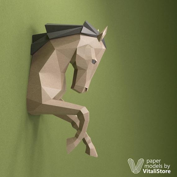 Horse Paper Head PDF Papercraft DIY Gift 3D