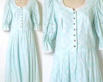 Vintage Dress, 70s Dress, Vintage Blue dress, Vintage babydoll Dress, 70s Peasant Dress,Vintage puff sleeve dress,Vintage floral dress - S/M