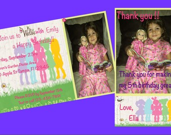 Wellie Wisher Birthday Party Invitation and Thank You Card - personalized, digital
