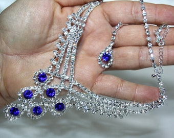 Rhinestone Austrian Crystal Choker Necklace Earring Blue Pageant Bridal Prom