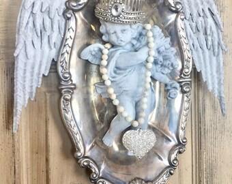Cherub wall decor, chabby chic wall decor, handmade cherub wall decor, Mediterranea Design Studio, altered silver art, angel wing wall decor