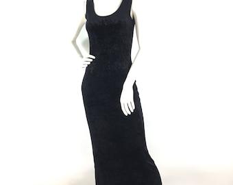Vintage prom dress/black velvet maxi dress/stretch velvet prom dress