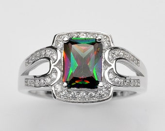 Handmade Natural Gemstone Jewelry, Genuine Mystic Rainbow Topaz Sterling Silver Ring  FD5A0276 RIS7-MYT071