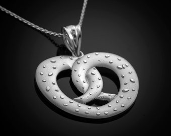Sterling Silver Salted Pretzel Pendant Necklace