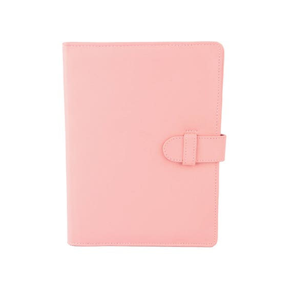 Pale Pink A5 Leather Padfolio Portfolio Note Pad Holder
